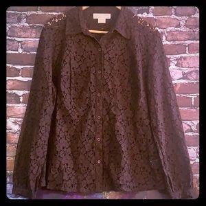 Michael Kors women's brown lace long sleeve shirt